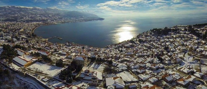 "The old town seen from ""Gorna porta"" - Ohrid aerial photos"