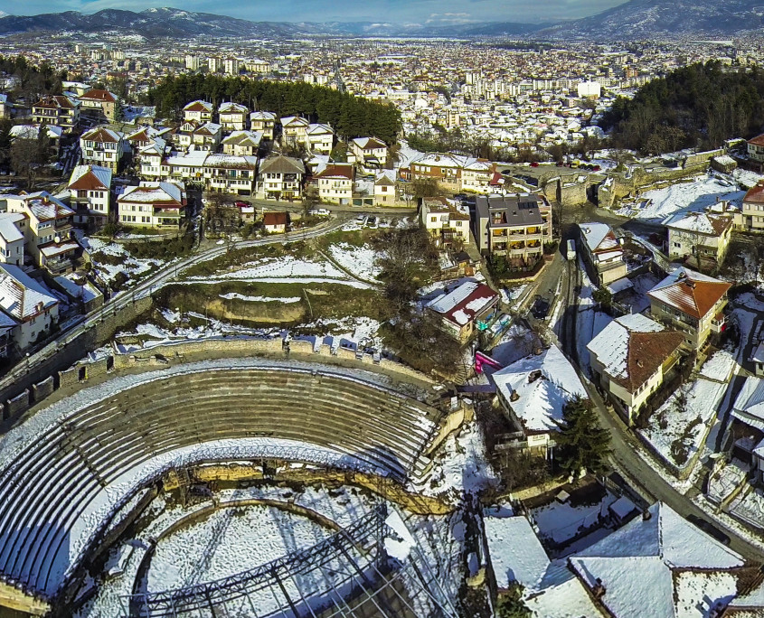 A view of the amphitheatre and part of the old city - - Ohrid aerial photos