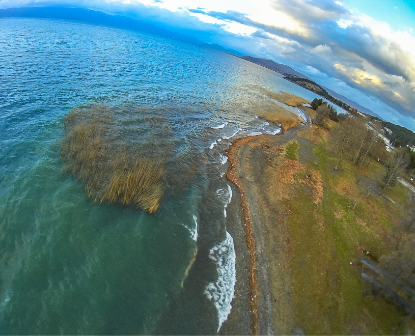Land and water division - aerial photography at Ohrid lake