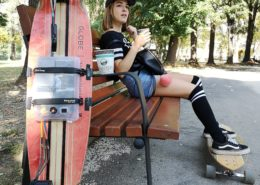 DIY electric longboard in the park