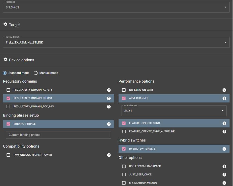 ExpressLRS configurator R9M settings screen